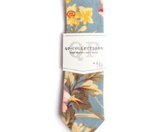 Sky Blue Floral - Skinny Tie - Wedding - Monogram - Groom