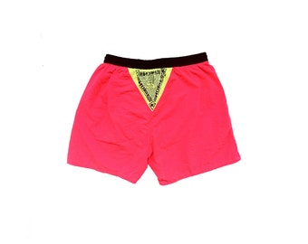 Wicked 90s Neon Hobie Tribal Triangle Swim Trunks - 30 to 36