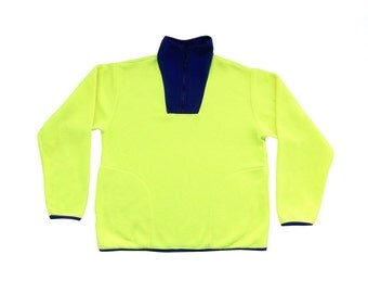 Rad 90s Neon Marathon Yellow & Purp Fleece Top - M / L