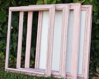 Pink 11x14 Frame One Shabby Chic Vintage Hand Painted Distressed Frame Made to Order