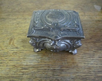 Beautiful Silver Plate Ring Trinket Box. Red Lined Footed ring box.