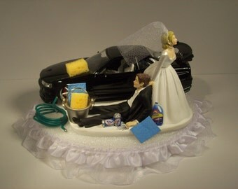 car guy wedding cake topper auto mechanic and groom 2002 nissan skyline gtr r34 blue 12388