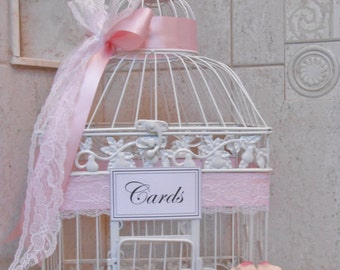 Large White Birdcage Card Holder / Wedding Card Box / Wedding Card Holder / Wedding Shower / Bridal Shower / Baby Shower / Large White Cage