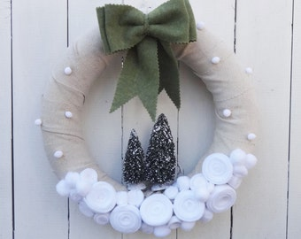 Rustic Christmas wreath, snowy winter wreath, natural burlap Christmas wreath, rustic Christmas decor, natural winter wreath, snow wreath