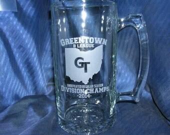 Etched beer mug, engraved beer mug, etched glass mug, engraved glass mug, etched 40th beer mug, engraved 21st beer mug, etched 50th mug