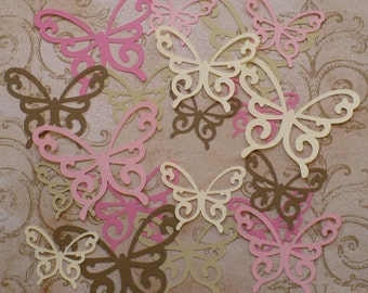 20 pc total Different Sz Scroll Butterfly / Butterflies Die Cut Strawberry Cream colors cardstock paper Wall Hang Photo Shoot Prop DIY Baby
