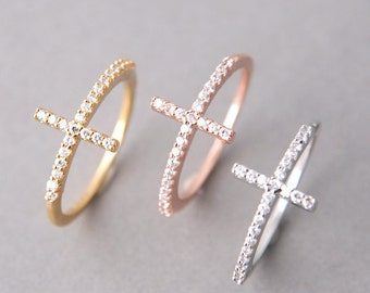 CZ Sterling Silver Sideways Cross Ring in Rose Gold, White Gold, Yellow Gold - Silver Cross Jewelry, Silver Cross Rings, Christmas Gifts