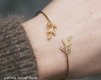 Gold Bay Leaf Bracelet Cuff