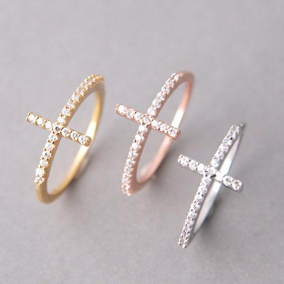 cz sterling silver sideways cross ring in by