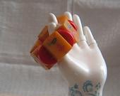 Vintage Bakelite Mah Jong Tile Bracelet - Chunky Statement - Tiles 1 thru 6