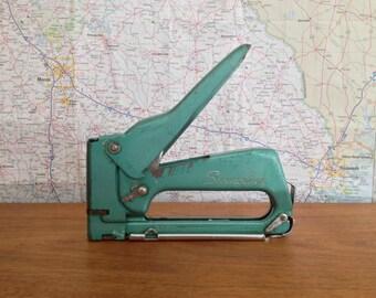 Vintage SWINGLINE 101 Tacker Stapler Staple Gun Turquoise Green