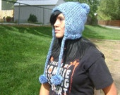 Chullo Hat, Hand Knit Chunky Blue Earflap Ski Hat with Pom Poms