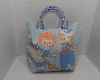 NEW Purse Handmade with Raggedy Ann & Andy Vintage Sheet Fabric Cotton Blue Handle