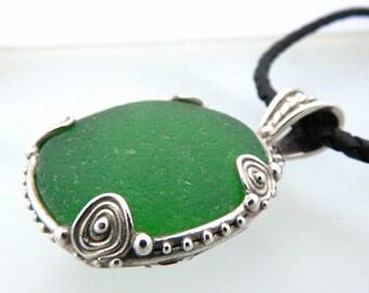Large Green Seaglass Artisan Silver Pendant