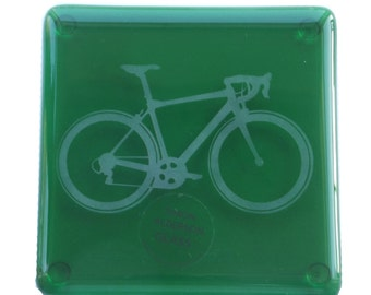 Green Bike Fused Glass Coaster