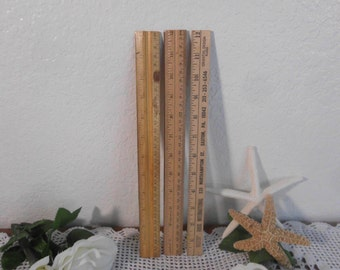 Vintage Solid Wood Ruler Set Brass Metal Edges Wescott Aakron Country Farmhouse Cottage Eco Friendly Home Decor Back to School Desk Supply
