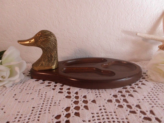 Vintage Duck Valet Mens Dresser Desk Organizer Jewelry Office Man Cave Bedroom Lake House Cabin Nautical Home Decor Gift for Him Wood Brass
