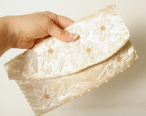 Hand Beaded Satin Clutch in Antique White Satin with Pearl and Gold Beads