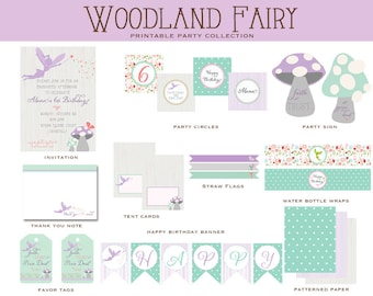 WOODLAND FAIRY Birthday Collection, Printable Party Package, FairyInvitation and Decorations