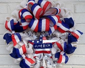 Patriotiv White Burlap July Fourth, Memorial Day, Labor Day Veterans Day Wreath