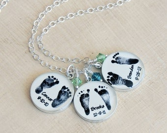 Baby Footprint Necklace - Mother's Necklace - Baby Footprints - Footprint Pendant - Mother's Day Jewelry - Triplets - Infant Loss