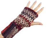 Red and Black Fingerless Gloves with individual finger holes