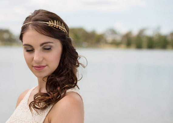 Sample sale Gorgeous gold leaf gold plated headband with rhinestones
