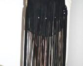 Leather Fringe Pouch Purse Hobo Adjustable Strap Black Suede Very Nice Bag Side Pocket 11x8
