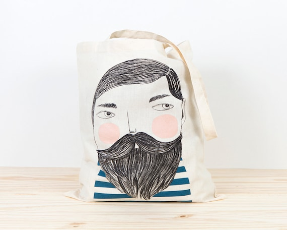 Bearded Tote bag, sailor tote bag, hipster, screen printed canvas tote, organic canvas tote, depeapa, illustration, perfect for gift