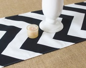 Black and White Chevron Table Runner Table Cloth Runner Wedding Runner Home Decor Black White Chevron Table Runner Buffet Runner