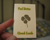 New Item Good Luck Feel Better Natural Four Leaf Clover Card Enclosure
