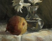 "Still life painting, Pear and Pair, Daisies,  8"" x 10"" oil painting on canvas"