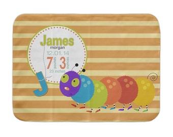 Custom Receiving Blanket, Caterpillar, Baby Blanket, Baby Stats Blanket, Monogrammed Baby Blanket, Birth Announcement Crib Blanket