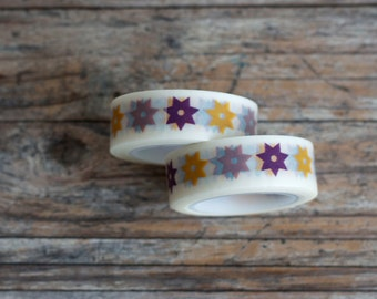 Japanese Washi Tape - Masking Tape Roll in Yellow Purple and Blue Stars