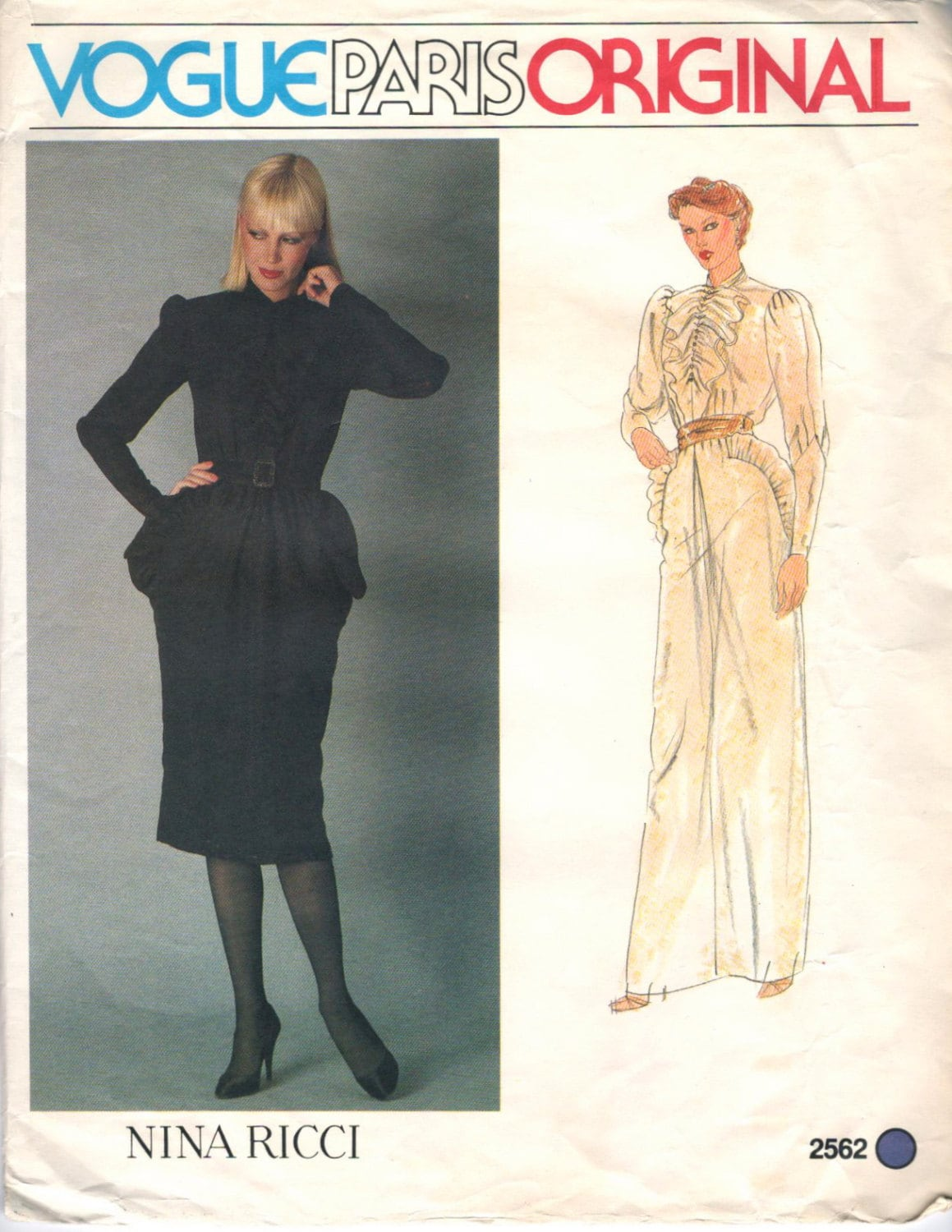 1980 Nina Ricci black ruffled dress pattern Vogue 2582