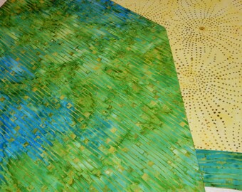 Batik Table Runner Green 54 x 14 Reversible