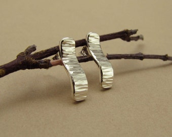 Curved Sterling Silver Hammer-Textured Rectangular Studs