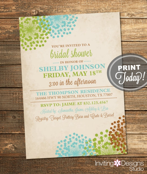 Wedding Shower Invitation, Vintage Bridal Shower, Floral, Green, Aqua, Brown, Woodland, Printable (Custom Order, INSTANT DOWNLOAD)