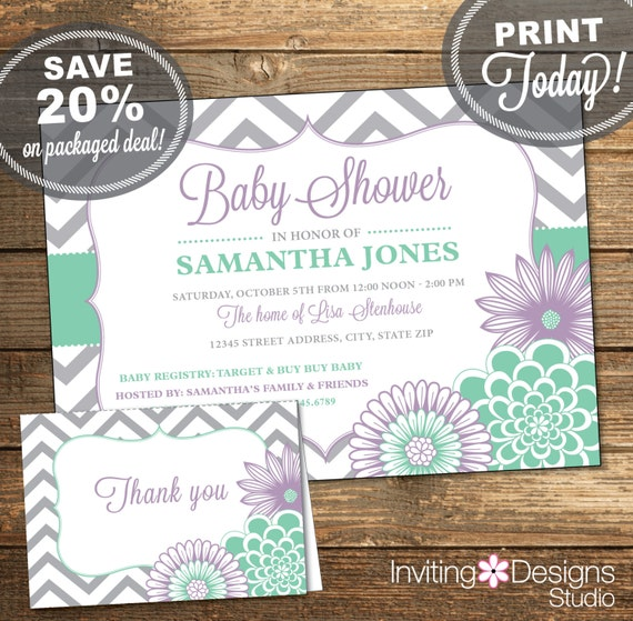 Chevron Baby Shower Bundle - Mint Lavender