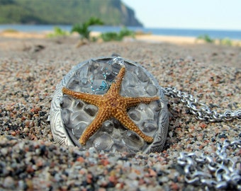 Genuine Starfish-Locket-Starfish Necklace-Beach Jewellery-Nautical Fashion-Starfish Gifts-Beach Wedding