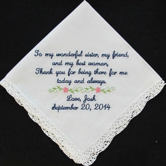 Wedding Handkerchief embroidered for the Sister of the Groom