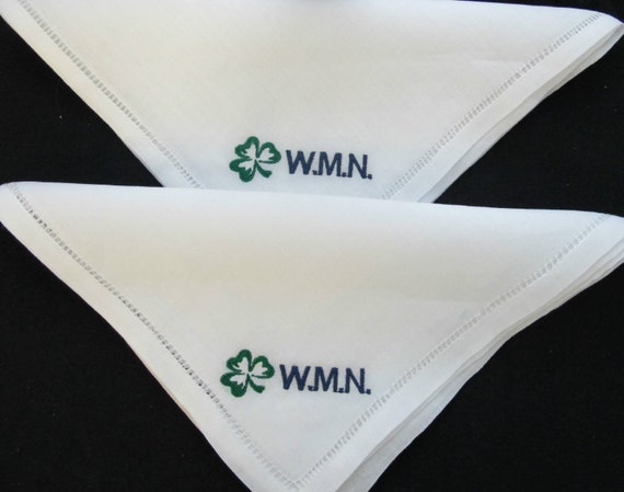 Embroidered Personalized Groomsman's Gifts Linen Embroidered Handkerchiefs.  Set of 2.