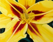 """Yellow and Red Lily- Canvas Print of Oil Painting- Beautiful Wall Art 20"""" x 24"""""""
