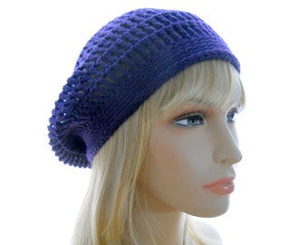 Bamboo - Silk Crocheted Slouchy Hat / Beret in Purple, Small to Large Size