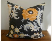 Dark Brown Floral Pillow Cover / 20x20 inches