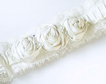 Ivory Garter - Silk and Lace with Rosettes Swarovski Crystals and Glass Pearls