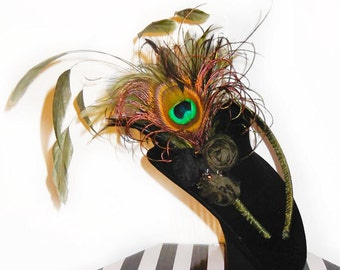 Olive Feather & Silk Rosette Headband Fascinator