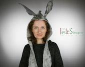 Donkey inspired Felted carnival hat - Handmade festival hat - Warm animal hat - Fancy dress hat - Carnival costume hat - Party hat