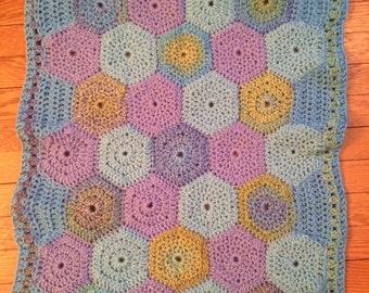 Bright Crochet Hexagon Baby Blanket