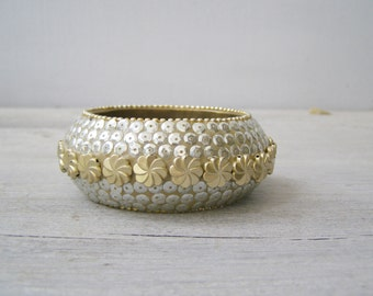 80s Bold Bracelet, Sparkle Gold Silver Bracelet, Sequins Statement Bracelet, Big chunky Bracelet, Vintage Bling Jewelry, Wide Bangle